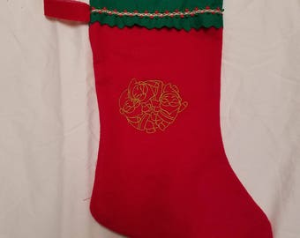 Red and Green Gnome Embroidered Yule Stocking