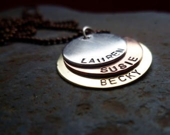 Mixed Metal Quad sterling silver copper bronze necklace personalized engraved stamped pendant mom grandma sister gift