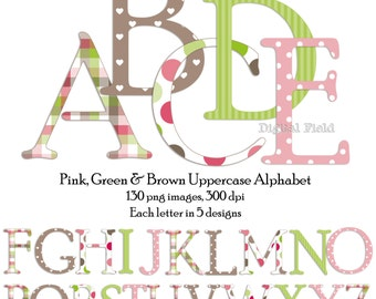 Pink, green and brown uppercase alphabet clip art set - printable digital letters - instant download