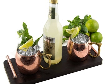 Mule Runner - Moscow Mule Serving Set with Tray and 2 Copper Mugs