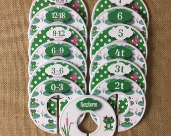 Cute frog Closet Dividers in green and white, Baby Shower Gift, Newborn Baby Gift, Baby Girl Gift, Infant, Toddler, Child, size dividers
