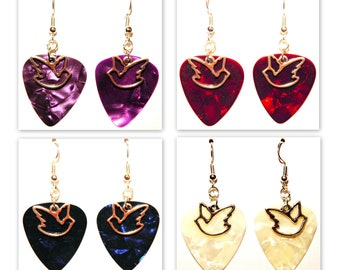 Dove Outline Bird Charm Guitar Pick Earrings - Choose Color - Handmade in USA