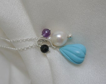 Necklace with pendant turquoise Akoya Baroque Pearl amethyst black Spinel necklace with pendant turquoise Akoya Baroque Pearl Amethyst spinel