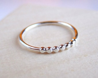 Ombre - silver ring. Sterling silver ring with dots. Beaded ring band. Pebbles Stacking ring. On sale!