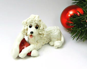 Poodle White Porcelain Christmas Ornament Figurine Santa Hat