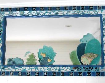 """Mosaic mirror """"lagoon of Tahaa"""" 74 x 44 cm"""