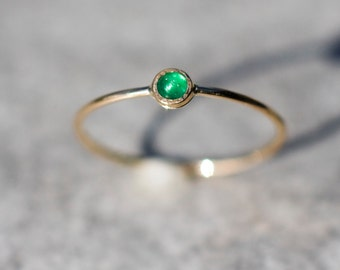Emerald ring in 14k yellow gold, Stacking ring, Engagement ring, Gemstone ring, May birthstone, Emerald jewelry, Dainty ring