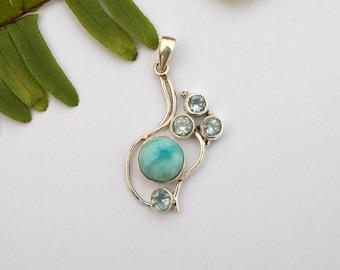 Larimar Pendant Necklace, Larimar and Blue Topaz Sterling Silver Pendant on Chain, Blue Stone Pendant, Larimar Jewelry, Anniversary Pendant