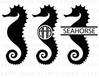 Seahorse svg - sea horse clipart - seahorse monogram vector file svg, eps, dxf, png