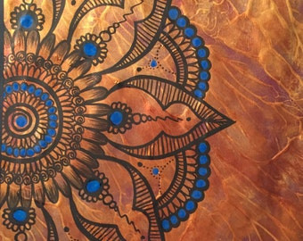 Blue Henna Mandala/tribal/abstract/metallic gold art