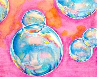 Bubbles-Magenta!  8x10 print, image size 6x6