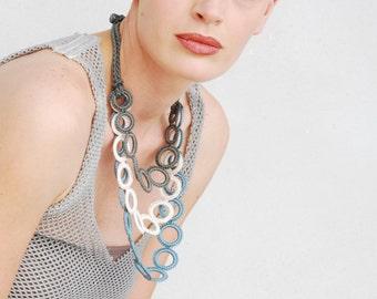 Bib Crochet necklace  Fiber necklace Pastel colors necklace Crochet jewelry Dusk blue Cream Olive  Fashion  jewelry