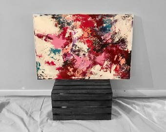 """Acrylic abstract colourful pink and white painting on canvas, 20"""" x 30"""""""