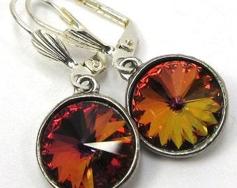 Earrings of Volcano Swarovski Crystals, Free US Shipping