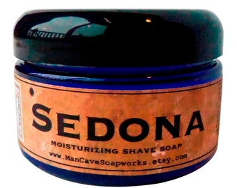 SHAVE Soap in a Jar  SEDONA - Old Fashioned Shaving with Bentonite Clay and Shea Butter by Man Cave Soapworks