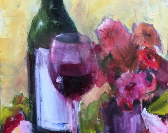 Wine and Zinneas 8 x 10 original oil floral