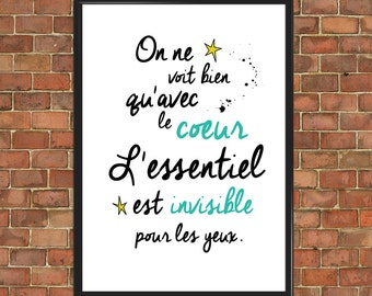 The Little Prince Quote Le Petit Prince French Poster Kids Room Nursery Quote Art Print Wall Decor Home Gift Home Decor Inspirational (013)