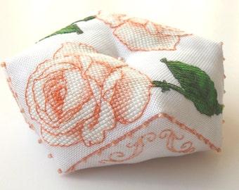 Cross Stitch Pattern PDF Biscornu Pin Cushion Peach Roses DD0099