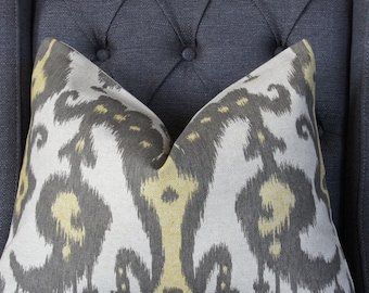 25% Off, Price as marked, Yellow and Gray Pillow Cover, Decorative Pillow, Throw Pillow, Toss Pillow, Ikat Pillow, Gray Ikat, Yellow Ikat
