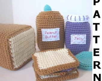 Play Food Crochet Pattern - Peanut Butter and Jelly