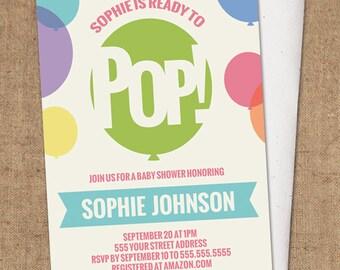 Ready To Pop Invitation - DIY Printable - Baby Shower Invite - Balloons