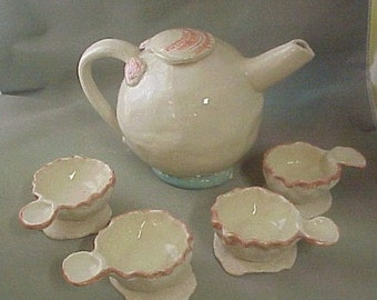 Ceramic Hand Built Beach Tea Set