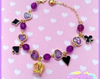 Heart bracelet cute and kawaii lolita style purple