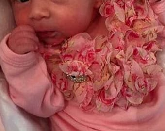Pink Infant Baby Layette Gown White Baby Gown with Vintage Chiffon Flowers and Rhinestones