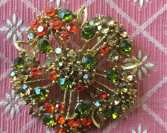 Vintage Multi Rhinestone Flower Pin