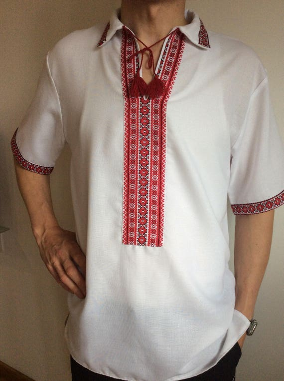 Vyshyvanka Ukraine Ukrainian embroidered embroidery for men white red