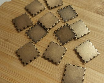18mm square closed back lace edge brass ox plated settings 12 pc lot l