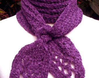 Pineapple Patterned Purple Crocheted Scarf