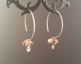 I'm  a Day Dream Believer Copper Flower Bell Peace, Love and Happiness Earrings