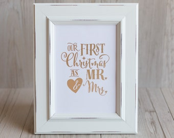 Our First Christmas as Mr & Mrs Foil Print