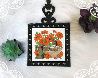 VINTAGE Floral 1970's Trivet / Vintage Coaster /  Vintage Kitchen Decor / Vintage Home Decor / 1970's Kitchen Decor