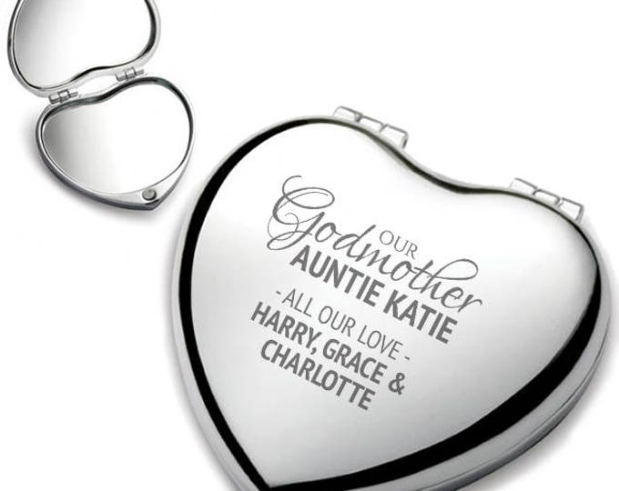 Personalised engraved GODMOTHER heart shaped compact mirror christening, baptism, birthday gift idea, chrome plated - HEM-G1