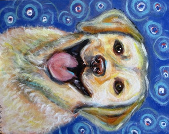 Yellow Labrador Lab art original dog Happy Labrador painting