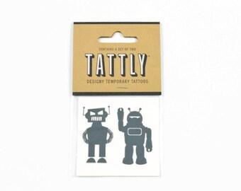 ROBOT TEMPORARY TATTOOS (Set of 2 Temporary Tattoos) - Tattly Bot Buddies Robot Temporary Tattoos (2.1cm x 2.1cm)