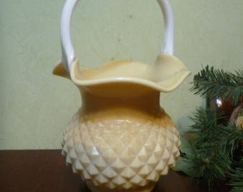 West Virginia Glass Co. Ruffled Diamond Pattern Handblown Glass Vase With Handle