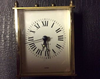 Vintage Battery Operated Quartz Desk Clock with Roman Numerals
