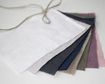 Samples/ fabric swatches of 100 % pure softened linen (european flax)  color palette samples