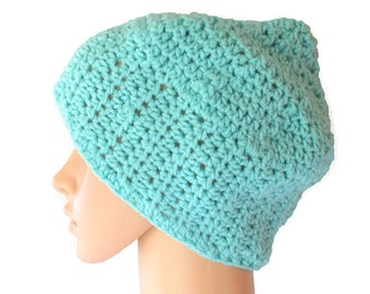 Blue Beanie, Knit Winter Beanie, Dread Cap, Womens Slouch Cap, Slouch Hat, Autumn Hat, Blue Winter Hat, Mens Snow Hat, Blue Toque