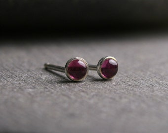 Tiny bezel set untreated pink tourmaline sterling silver stud earrings 3mm