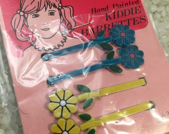 Vintage barrettes, New old stock,  dated 1981, handpainted, baked on paint, flower barrettes, 2 pair