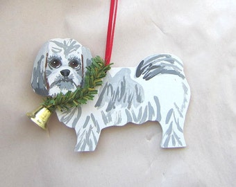 Hand-Painted SHIH TZU Grey/White Wood Christmas Ornament...Artist Original, Christmas Tree Ornament Decoration