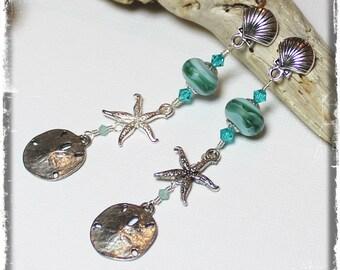 Beachcomber... Handmade Jewelry Earrings Beaded Lampwork Crystal Beach Seashell Sea Shell Sand Dollar Aqua Teal Turquoise Silver Long Post