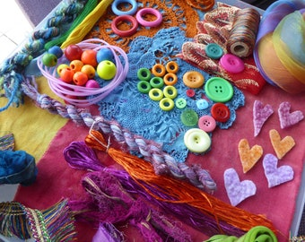 Hope jacare - Creativity pack  - hand dyed cotton threads, fabric and other goodies - CP20