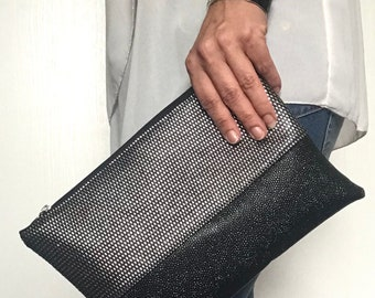Black and silver wallet imitation leather