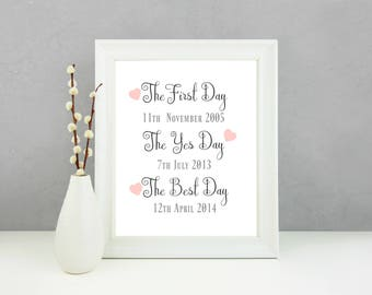 The first day print, wedding gift, personalised wedding gift, wedding print, gift for couple, personalised print