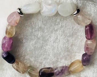 Fluorite and Rainbow Moonstone Beaded Bracelet -- protection + connection --